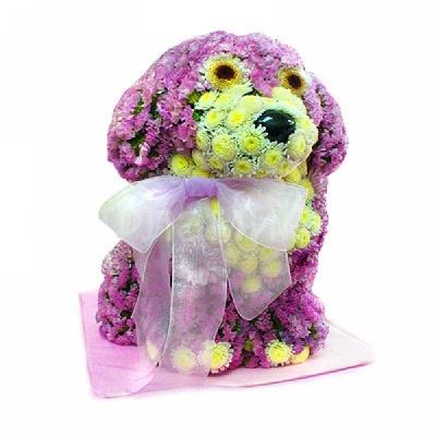 """Фигурные букеты из цветов """"Собачка с бантиком"""". Фламинго.Ру"""